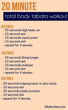 Tabata Workout - About 20 minutes of tabata intervals give the same aerobic benefit and calorie burn as running 40 minutes.