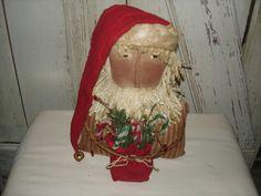 Primitive St Nick Santa Sitter with Bag by YorkiesPrimitives