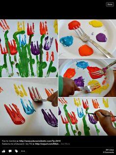 Pintar flors amb forquilla
