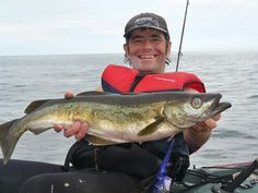 Pollack From A Kayak Sea Fishing, Kayak Fishing, Sea Angling, Water Fight, Surf Design, Us Sailing, Jet Ski, Water Sports, Kayaking