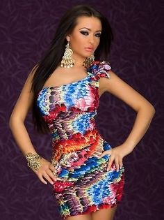 Shop Alluring One-shoulder Mini Dress With Colorful Feather-Print on sale at Tidestore with trendy design and good price. Come and find more fashion Sexy Dresses here. Club Dresses, Dresses For Sale, Sexy Dresses, Fashion Dresses, Formal Dresses, Mini Dresses, Clubbing Dresses, Bandage Dresses, Vestido Multicolor