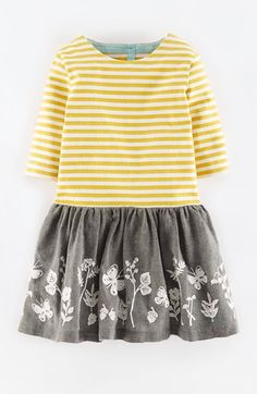 Free shipping and returns on Mini Boden Embroidered T-Shirt Dress (Toddler Girls, Little Girls & Big Girls) at Nordstrom.com. Butterfly and floral embroidery brightens the drop-waist skirt of a cheerful long-sleeve T-shirt dress topped with a boldly striped bodice.