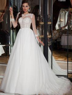 Rochie stil printesa cu spatele gol si un corset superb din dantela cu maneci lungi  Culori disponibile - alb, ivoire