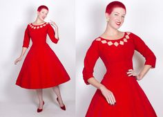 FABULOUS 1950s New Look Lipstick Rich Red Cotton Velvet Party Dress w/ Diamond Cut-Outs Neckline - Tailored Gored Bodice - Dior Style - M