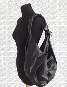 Black Furoshiki bag eco-leather by RiKrio on Etsy