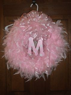 Pink Feather Wreath