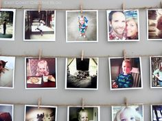 Display your Instagram prints with twine and tiny clothespins (East Coast Creative)
