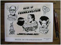 Bride of Frankenstein tattoo flash print.