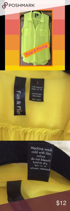 Sheer Yellow Blouse Bright Yellow Collared  & Sleeveless sheer Blouse , Front Patch Pockets, Button Front Tab. High-Low Rounded Hem. Cute! Fun & Flirty Tops Blouses