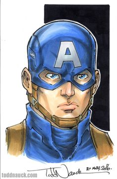 """Captain America from Captain America:"""" The Winter Soldier"""". Sketch prize choice of the winner of my Wizard World Des Moines 2016 Sketch Retweet Contest on Twitter: twitter.com/toddnauck My next Sketch Retweet Contest runs during Phoenix Comicon, June..."""
