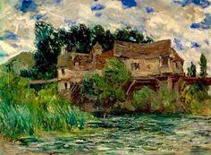 Claude Monet, Houses on the Old Bridge at Vernon, 1883 on ArtStack #claude-monet #art