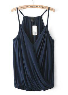 Fold Design Spaghetti Strap Navy Blue Vest