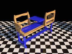 """Banco """"Enamorados"""" de la  línea NOA para dos personas. Combinado entre madera tintada y lacado color. Inalterables y resistentes a los agentes climáticos."""