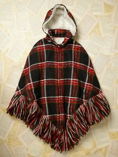 Free People - 1970s Vintage Red, Cream, & Black Plaid Hooded Fringe Tassel Faux Fur Lined Poncho