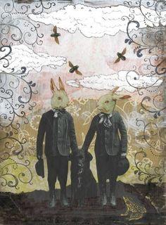 Rabbit Art Print Mixed Media Collage Art  Whimsical by sarahogren, $15.00