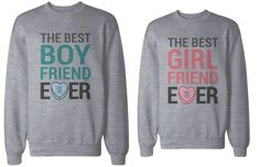 His And Her Matching Sweatshirts Cute Valentine Couple Sweatshirts Best Boyfriend and Girlfriend Ever Hoodies Euro Size Cute Couple Shirts, Couple Tees, Cool Shirts, Couple Stuff, Matching Couple Outfits, Matching Couples, Matching Clothes, Best Boyfriend, Boyfriend Girlfriend