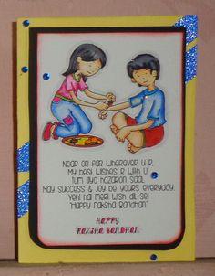 """CAS card made using the stamp set,""""Rakhi wishes"""". Rakhi Wishes For Brother, Raksha Bandhan Drawing, Soft Board Decoration, Rakhi Message, Raksha Bandhan Cards, Rakhi Cards, Happy Rakhi, Rakhi Making, Handmade Rakhi"""