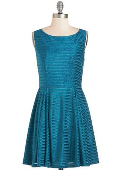 Fête into the Groove Dress. Tonights soire is filled with dazzle and dynamism since you showed up in this peacock-blue party dress. #gold #prom #modcloth