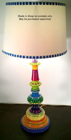 Hand Painted Table Lamp 002 Fun Funky Whimsical and by LisaFrick.