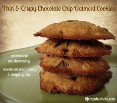 Thin & Crispy Chocolate Chip Oatmeal Cookies