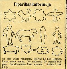 Kuvan Piparikakkuformut ovat peräisin Suomen Teollisuus-kaupan Joululehdestä vuodelta 1900