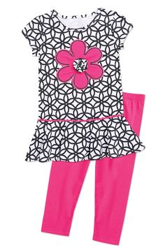 Geo Print Flower Dress Set (entire page) Cute Girl Outfits, Pretty Outfits, Kids Outfits, Frocks For Girls, Girls Dresses, Back To School Fashion, Kids Gown, Dress Set, Little Girl Fashion