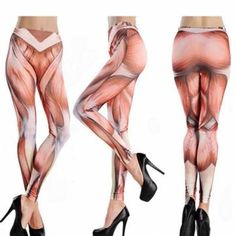 Funny High Waist Fitness Muscle Pattern Yoga Tattoo Women Pant Stretch Cropped Leggings at Banggood.com. Buy fashion Slimming & Exercising online.