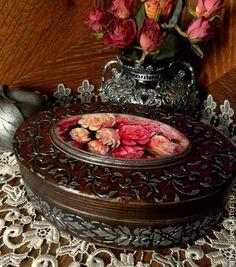 """Купить Шкатулка овальная """" Пионы для любимой """" - коричневый, шкатулка, шкатулка для украшений"""