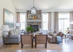 Family Room  Great Room  Living  Family Room  Rustic  American  Shingle Style  Cottage  TraditionalNeoclassical  Coastal  Transitional  Farmhouse by Matthew Caughy #americancoastallivingrooms