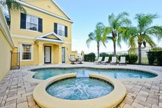 Large private courtyard with pool with spill over spa