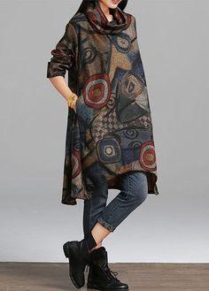 Pocket design printed long sleeve asymmetric hem dress - Source by ehama dress Formal Dresses With Sleeves, Linen Dresses, Women's Dresses, Sleeve Dresses, Casual Dresses, Hijab Fashion, Boho Fashion, Fashion Dresses, Retro Mode