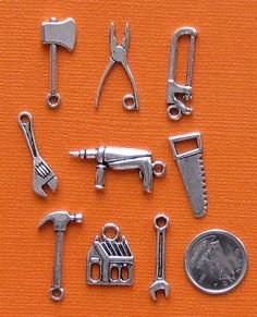 Tools Charm Collection Antique Silver Tone 9 by BohemianFindings