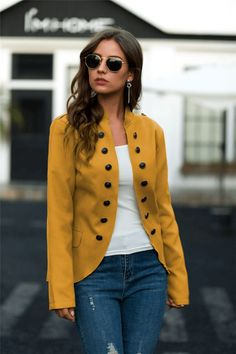 Size(in) Bust Sleeve Length S 39.4 24.4 25.2 M 41.3 24.8 25.8 L 44.1 25.2 26.4 XL 47.2 25.6 27.0 Cute Fall Outfits, Trendy Outfits, Fashion Outfits, Jackets Fashion, Trendy Fashion, Blue Jean Outfits, Casual Blazer, Women's Casual, Vest Coat