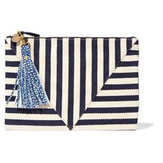 Clare V Striped cotton-canvas clutch (460 BAM) ❤ liked on Polyvore featuring bags, handbags, clutches, navy, blue beach bag, navy purse, navy blue purses, blue clutches and navy blue handbags