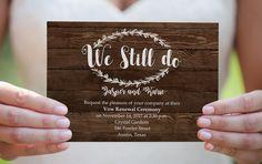 Wedding Vow Renewal Invitation. Rustic Calligraphy vow Invite. Minimalistic vow renewal. DIY wood Printable Editable Wedding Anniversary by WadaDesigns on Etsy