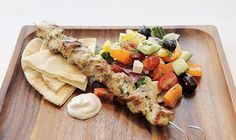 Always a favourite. Tender marinated skewers of chicken breast served with a brilliant Greek salad. A fresh healthy meal.