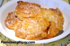 """Banana Fritter or Maruya is a fried food that makes use of """"Saba"""" banana or plantains. The bananas are sliced or mashed and then mixed with a batter."""