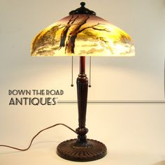Pittsburgh Reverse and Obverse Painted Table Lamp with Winter Scene - 1920's