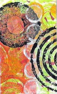 """""""Tonight:  another gelli-printed background and some stamped tissue paper from my stash.  Done in 2 minutes.""""  I am Rushmore: This week's theme? Too hot for art."""