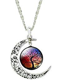 Jiayiqi Femmes Conception Uniques Sculpter Fleur Crescent Lune Vie Arbre Verre Cabochon Pendentif Chaîne