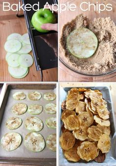 Cinnamon Apple Chips Had the cooking bug & made these also! Super easy -- I used 1 Granny Smith Apple, sliced it with a knife, coated them in honey & then sprinkled on cinnamon sugar, baked them at 200'F for an hour & a half.