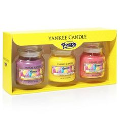 Yankee Candle Peeps Marshmallow Chicks - Small Jar Candle Gift Set Three Baby Jars (3.7 oz each)