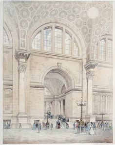 Happy 103rd Birthday, Penn Station NYC! (Vintage Photos)... A roundup of vintage photos and a watercolor of the interior of the original Pennsylvania Station in New York City, by McKim, Mead