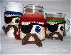 Ahoy, mateys…here be a pirate cozy for wrappin' around a mason jar of grog.