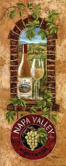 Napa Valley Fine-Art Print by Maria Donovan Decoupage Vintage, Decoupage Paper, Decoupage Ideas, Napa Style, Art Carte, Wine Painting, Napa Valley Wine, Wine Art, Vintage Wine