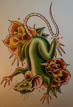 Evil Vulture Tattoo Rat in tattoo design