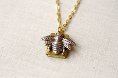 Honeybee Tiny Bee Locket Necklace by apocketofwhimsy on Etsy, $24.00
