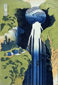 """The Amida Falls in the Far Reaches of the Kisokaidô Road"" by Katsushika Hokusai in his woodblock print series, A Tour of Waterfalls in Various Provinces."