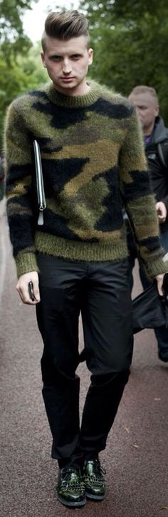 Wool Camo Sweater, and Dark Fitted Jeans. Men's Fall Winter Street Style Fashion, London.