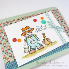 Farmer and Chicken Birthday Card by Jennifer Jackson | Farmyard Friends stamp set by Newton's Nook Designs